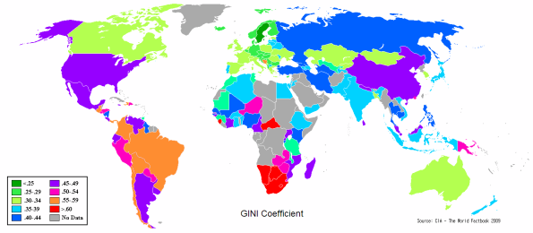In 2009, USA had a terribly high Gini coefficient. Most recently it is 0.486.