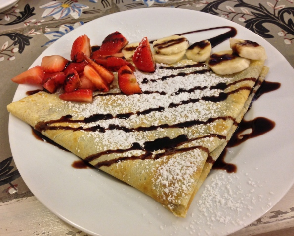 We don't usually fold our crepes like that, but you get the idea.