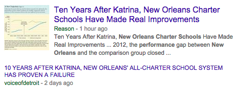 "I googled for ""new orleans charter school performance"""