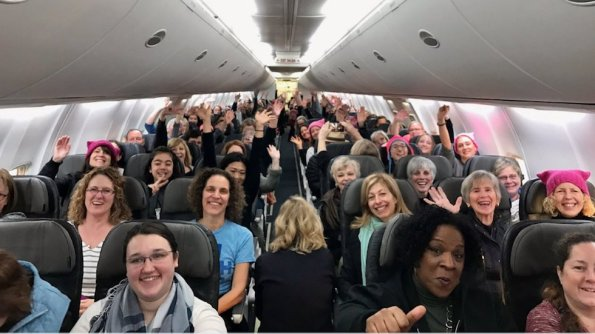 pussy-hats-on-a-plane